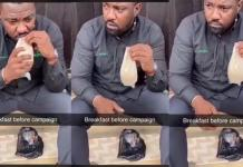 Video of John Dumelo drinking 'koko' and 'koose' before going out to campaign causes stir on social media