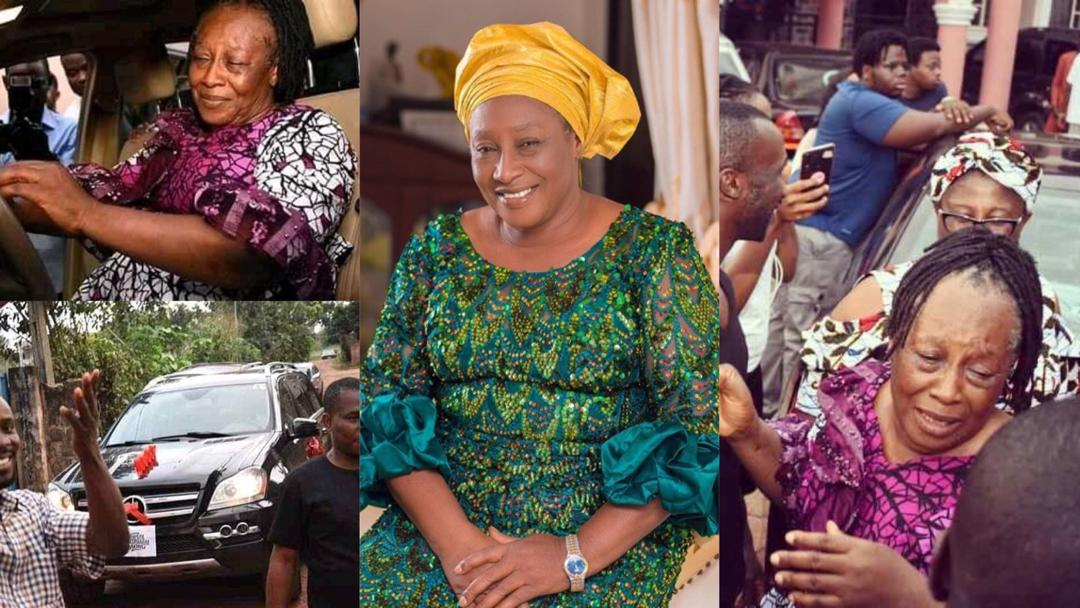 Patience Ozokwor sheds tears of joy as she receives a car gift from her children on her birthday