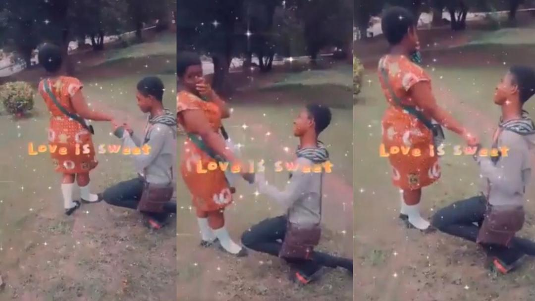 Teen boy proposes marriage to his KNUST JHS girlfriend after completion of BECE