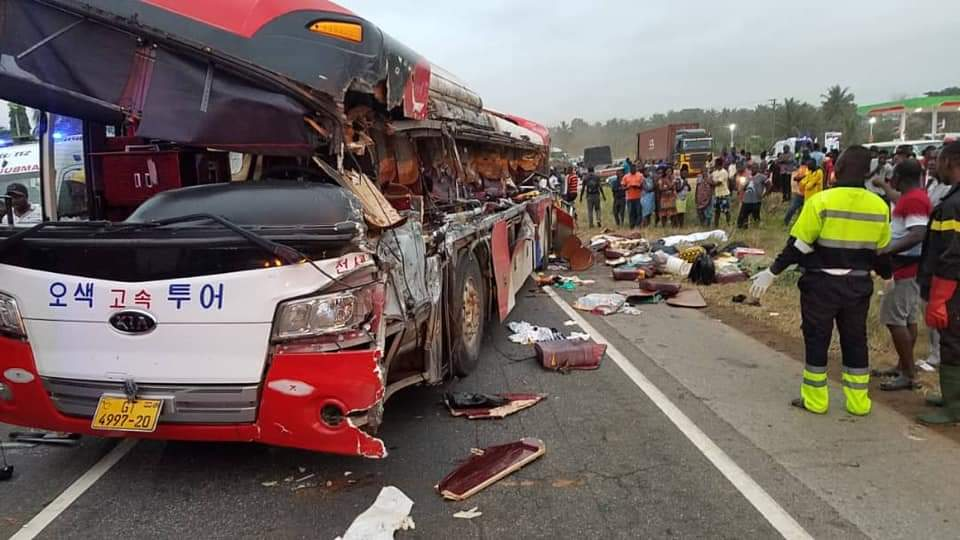 14 passengers perish in crash at Kyekyewere in the Eastern Region