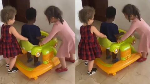 Adorable Scene Of John Dumelo's Son And Nadia Buari's Daughters Playing Together Melt Hearts