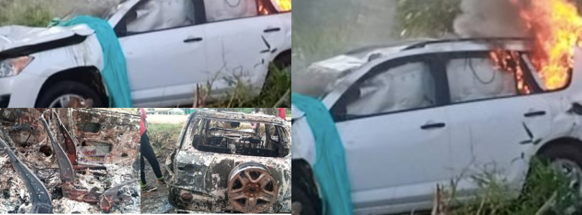 Angry Sefwi residents burn engagement car after it crashed down 3 people