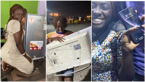 Lady who celebrated the purchasing of her first fridge receives iPhone X and television set as gifts