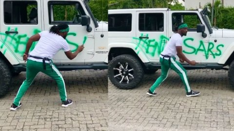 Video: Paul Okoye Sprays His Posh G Wagon Car With 'EndSars Now' Inscription And Gives The Middle Finger
