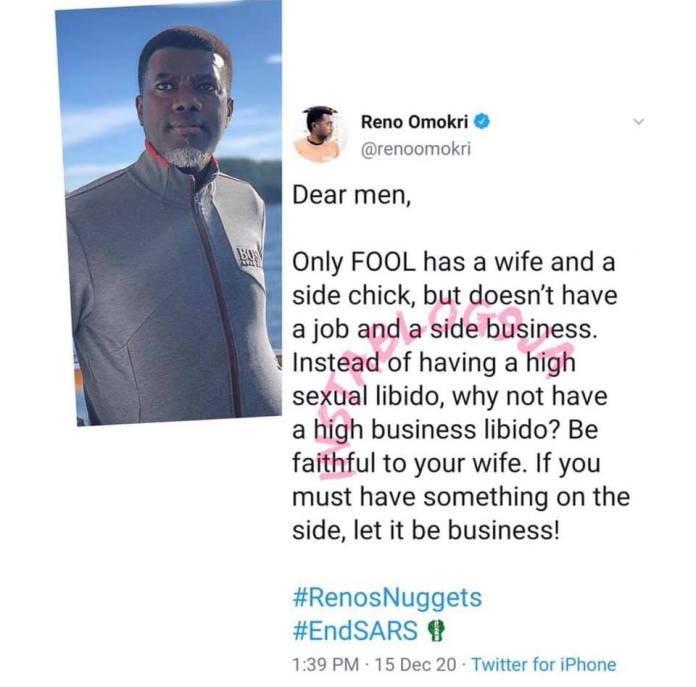 'It's Only A Fool Who Has A Wife And Side Chick But Has No Job'- Reno Omokri Goes Berserk Online