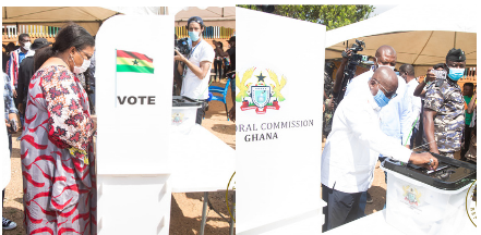 Ghana Election 2020: Nana Addo And Wife Vote At Rock of Ages Polling Station In Kyebi- See Photos