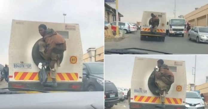 Video of a man jumping on a bullion van for a ride causes stir online