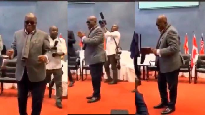 Prez Akufo-Addo shows his dancing skills to party supporters in London [Video]