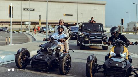 Stonebwoy & Davido Ride Expensive Bikes On The Streets To Promote 'Activate Party' (Photos +Video)