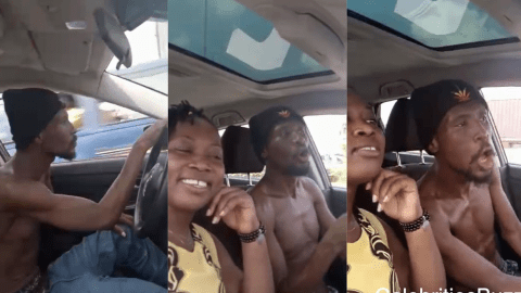 Big GOD: Okomfour Kwadee Fully Fit As He's Spotted Driving In Town With His Girlfriend