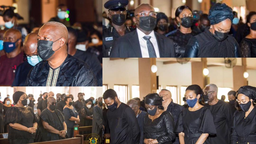 Sombre photos of Rawlings' children, wife, Prez Akufo-Addo, Mahama, others at his Requiem Mass today