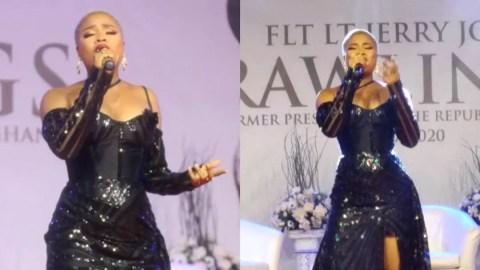 Singer Adina breaks down in tears during performance at Rawlings' memorial vigil
