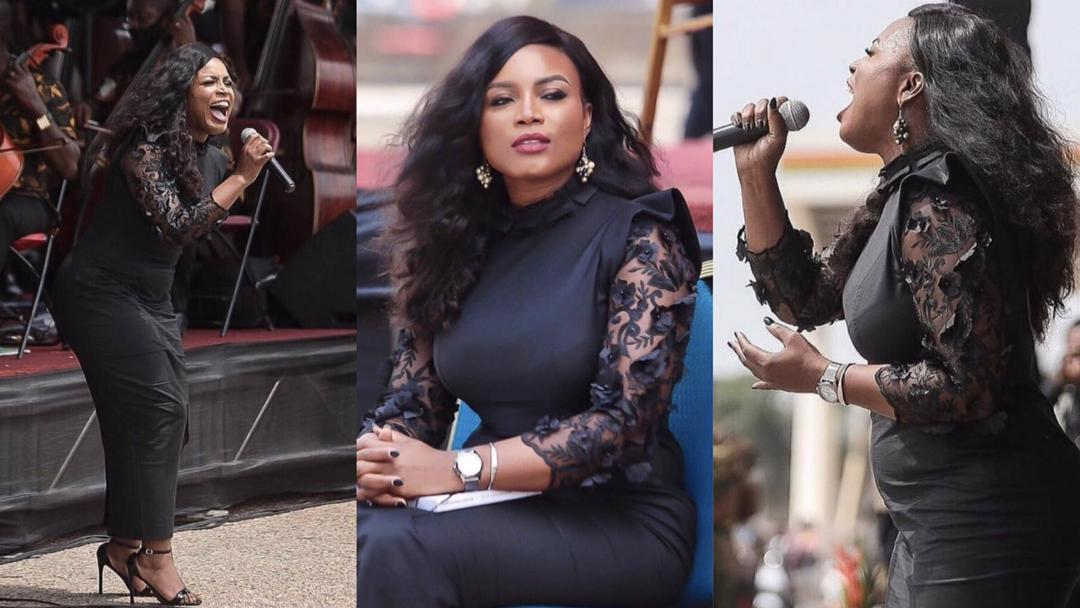 Watch: How singer Irene Logan thrilled Ghanaians with her beautiful performance at Rawling's funeral