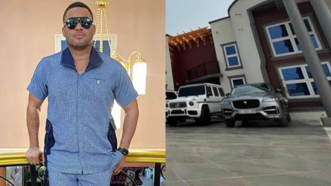 Hustle Hard – Kwadwo Safo Jnr Advises Fans As He Flaunts His Expensive Cars In His Mansion