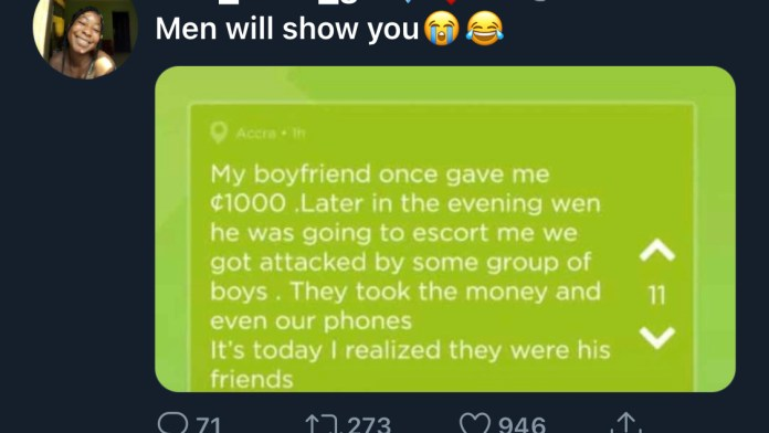 """My boyfriend gave me Money and asked his friends to rob me so he would get it back without me knowing.""- Lady discloses 2"