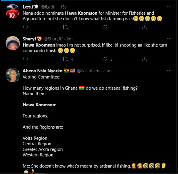 """Hot Video: Her English is so poor & she is unfit for the job"""" – Ghanaians troll Hawa Koomson for failing to define """"Fish Farming"""" during vetting 2"""