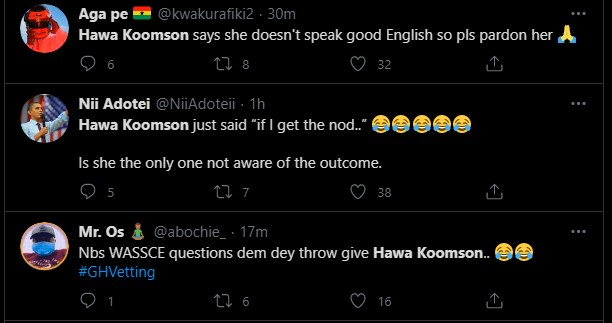 """Hot Video: Her English is so poor & she is unfit for the job"""" – Ghanaians troll Hawa Koomson for failing to define """"Fish Farming"""" during vetting 8"""