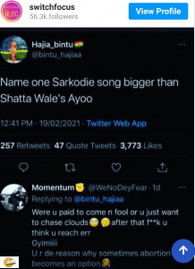 "Shatta Wale's ""Ayoo"" Is Bigger Than Sarkodie's Entire Career – Hajia Bintu"