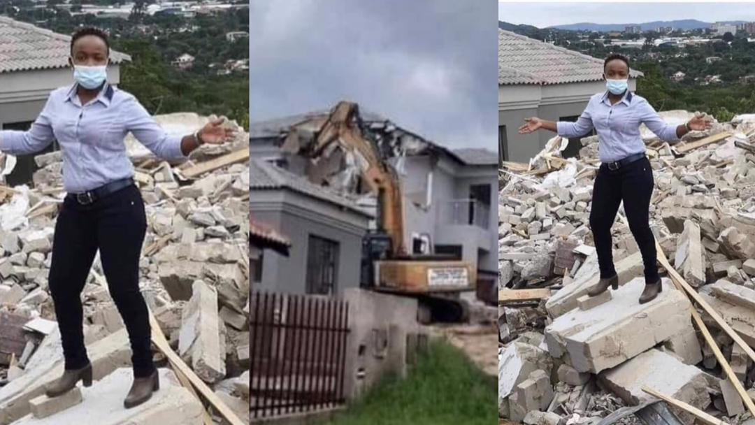 Lady whose ex-boyfriend demolished the house he built for her, sends clear message to him by posing on the remnants
