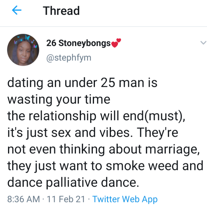 """""""Dating a guy under the age of 25 is a waste of time""""- Lady reveals 2"""