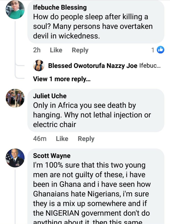 Nigerians React After Court In Ghana Sentenced Two Nigerians To Death By Hanging For Kidnapping And Killing Four Girls 7