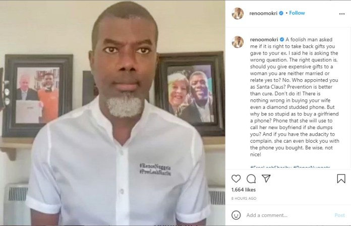 """""""Taking care of a woman you are just dating is F0olishness""""- Reno Omokri 2"""