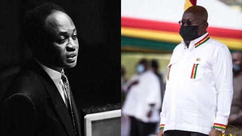 Ghanaians tackle President Akufo-Addo for deliberately ignoring Kwame Nkrumah in his Independence Day post