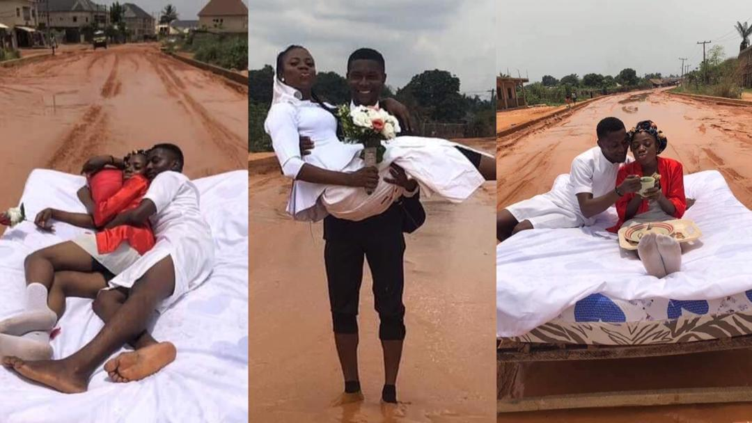 Wonder: Couple hold the most romantic honeymoon ever on muddy road [Photos]