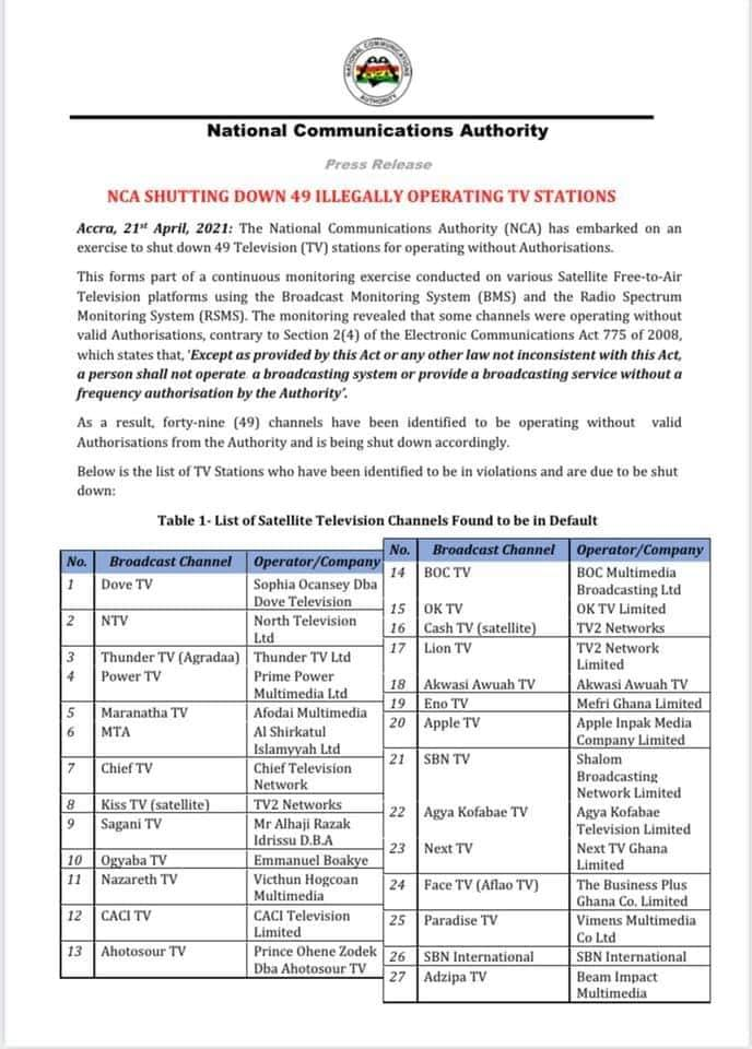 NCA shuts down TV station