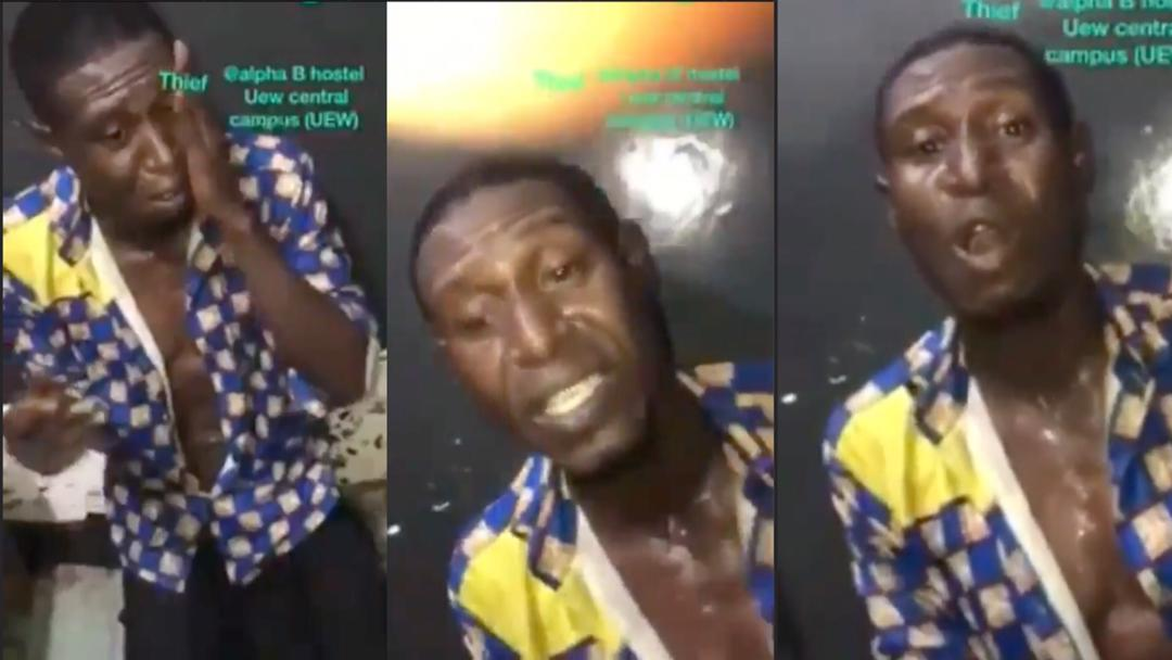 UEW: Thief forced to sing hymn after he was caught by students on central campus [Video]