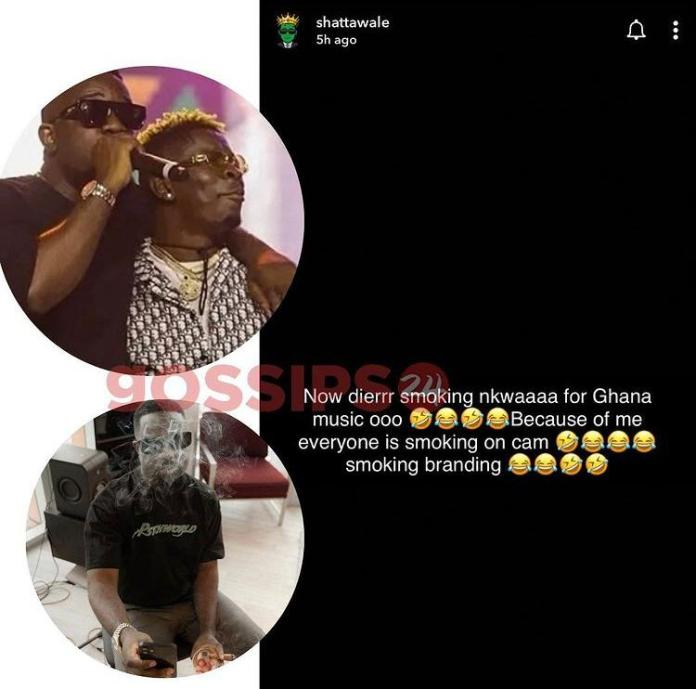 Sm0king Branding – Shatta Wale Subtly Jabs Sarkodie Over His Recent Sm0king Photos