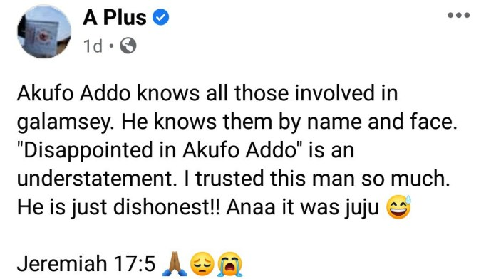 'Did Akufo Addo throw juju on me?'- A Plus asks as he says he doesn't know why he trusted him so much. 4