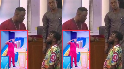 Prophet Nigel Gaisie prays and blesses sakawa boy who visited his church, asks him to sow seed of ₵5,000 as his white client will pay dollars soon