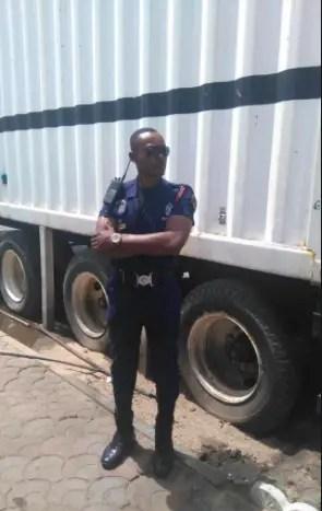 Jah Lead in police uniform