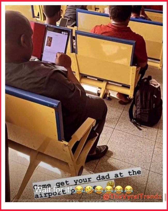 Sugar daddy caught drooling over his side chic's bedroom video on his tablet while at the airport 3