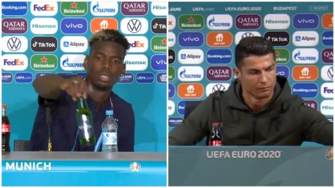Muslim Paul Pogba moves Heineken bottle away day after Cristiano Ronaldo shuns Coca-Cola at press conference [Video]