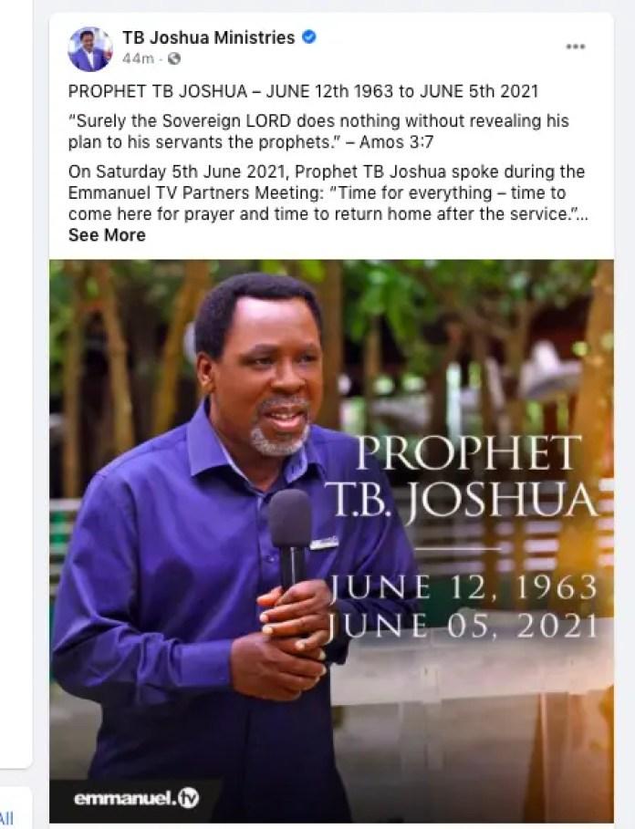 TB Joshua confirmed dead