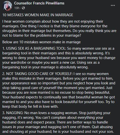 Relationship and Marriage expert outlines the 10 mistakes women make in marriage 2
