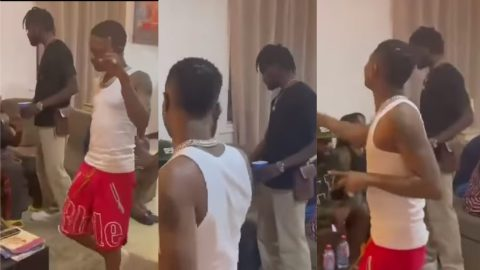 Fameye on cloud 9 after Wizkid finally meets him and sings his song word for word while in Ghana (Watch)