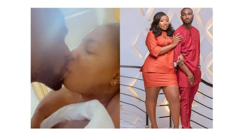 Actress Anita Joseph gives her hubby a killer morning French K!ss as he readies to travel (+ Video