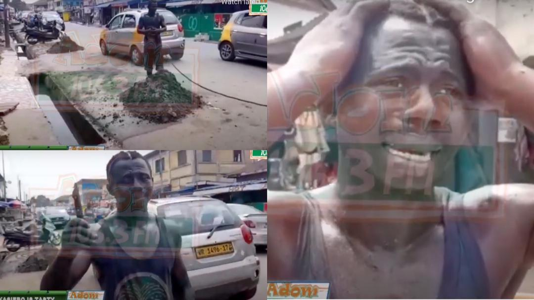 Takoradi: Residents serve notorious thief with beer & force him to distil all gutters in the town after he was caught [Video]