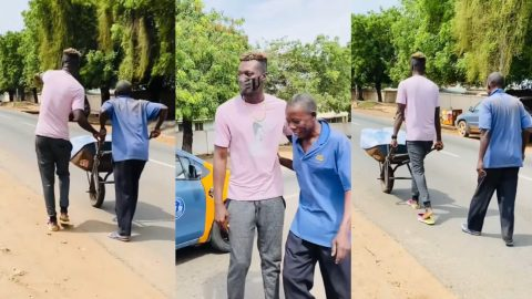 Keche Joshua Shows Kindness By Helping Old Man Who Looked  Tired Pushing A Wheelbarrow