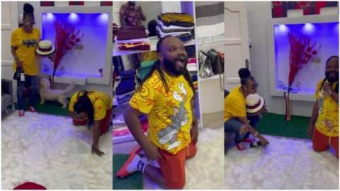 'This one dierr you do all'- Praye Tietia falls down flat after his wife Selly Galley surprises him with state-of-the-art game room (Watch)