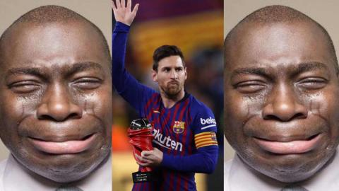 """""""I don't think I'll survive, my heart is paining me"""" – Ghanaian man weeps after news of Messi leaving Barcelona [Video]"""