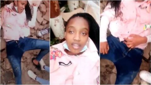 A,lcohol no good ooo: Watch the moment beautiful college girl ur!nates on herself after getting drunk, see reactions