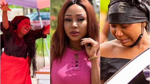 Sad moment Akuapem Poloo and her mother break down at her father's funeral (Photos)