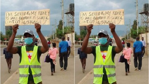 Sad moment man, 26, hit the street with a placard to sell his kidney in order to send his younger brother to school