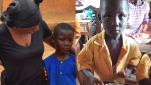 New photo of schoolboywho became an internet sensation after he took big bowl of fufu to school as 'Our Day' meal emerges