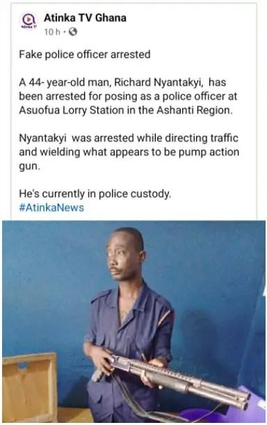 fake police officer arrested