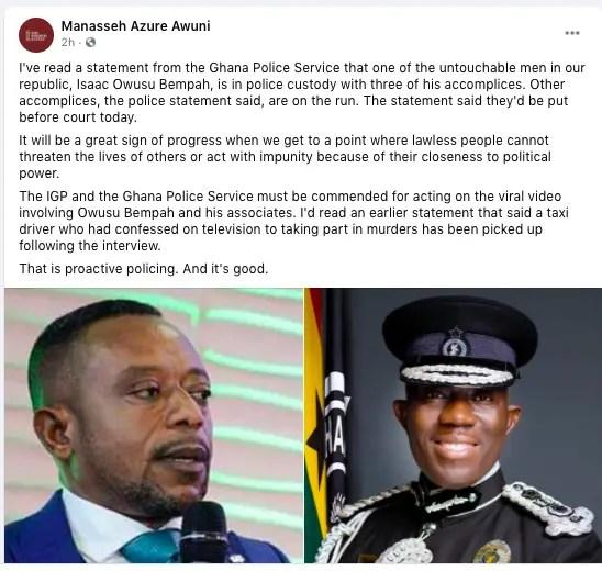 Manasseh Azure commends Ghana police